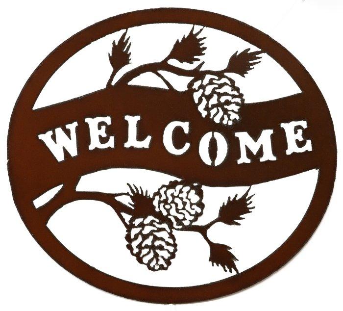 Welcome Pinecone CIrcle Metal Art