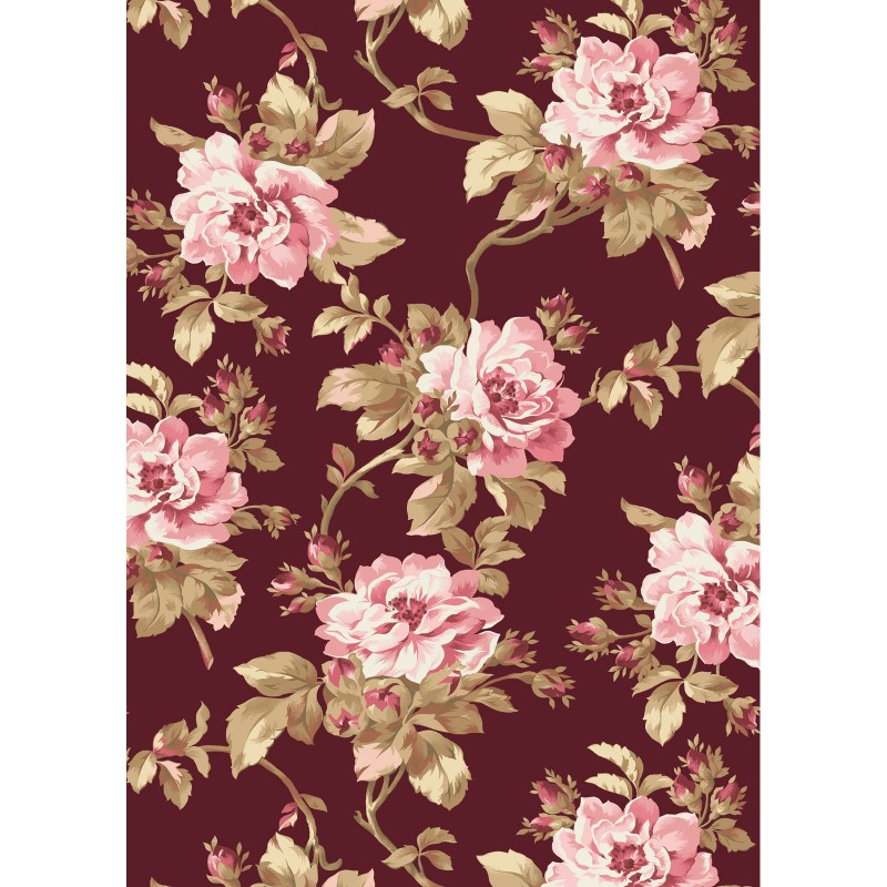 Burgundy & Blush - Large Floral Print