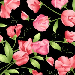 Sweet Pea Flannel - Black and Pink
