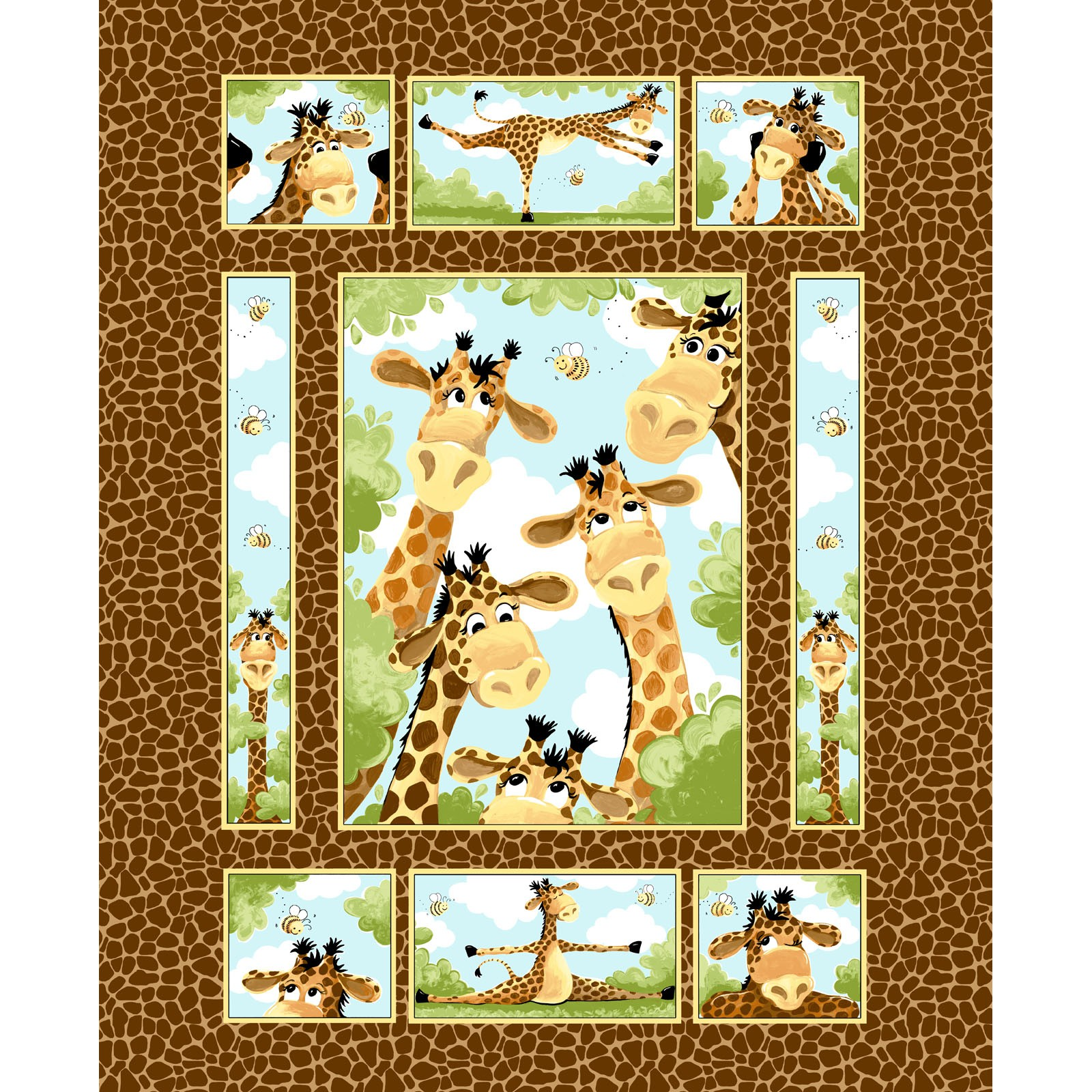 Zoe the Giraffe - Brown Panel