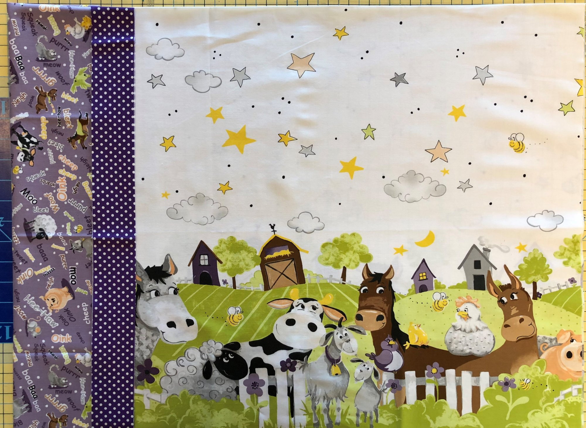 Barnyard Buddies Pillowcase Kit - Purple Header