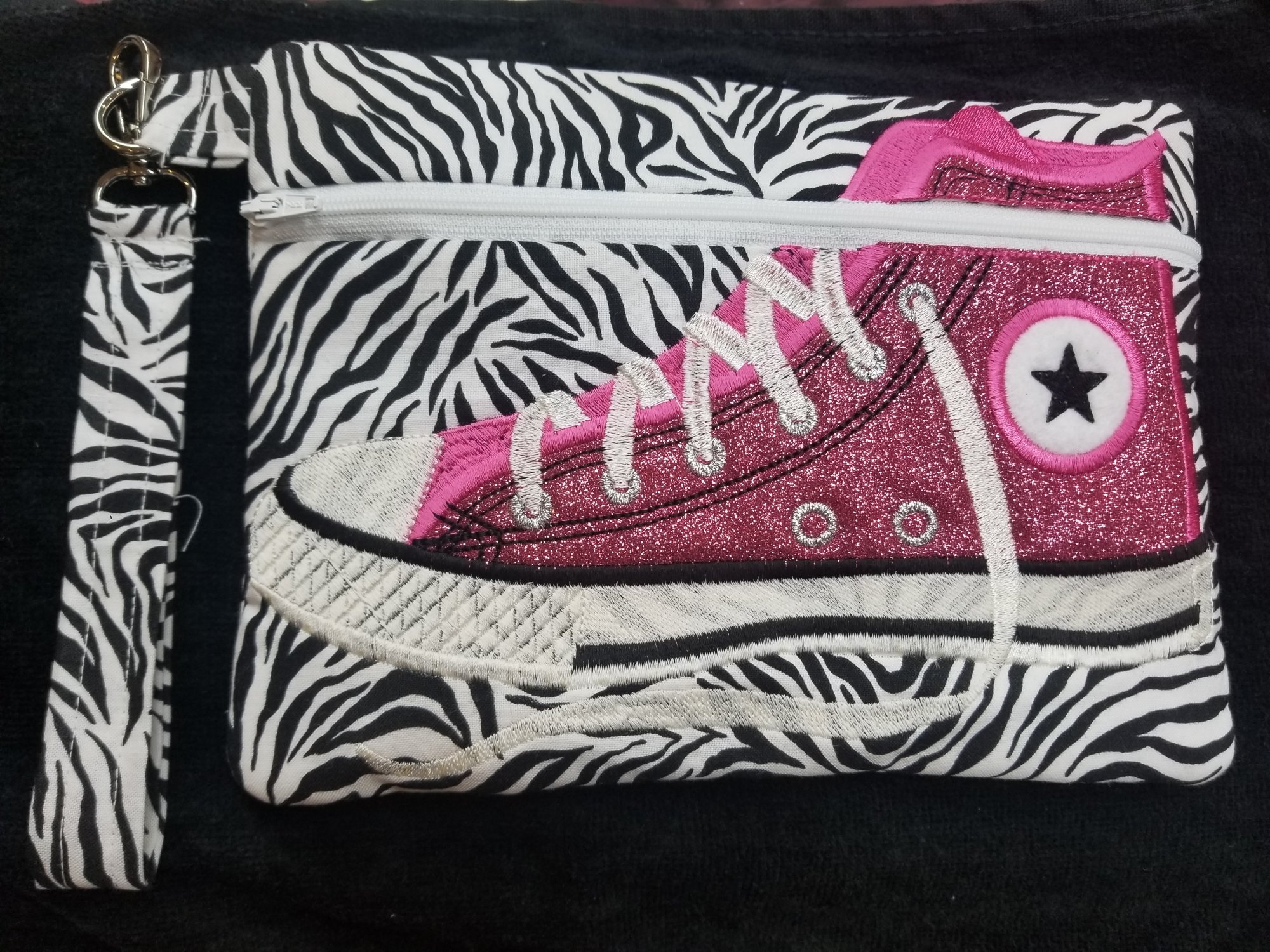 Pink Zebra Tennis Shoe Bag