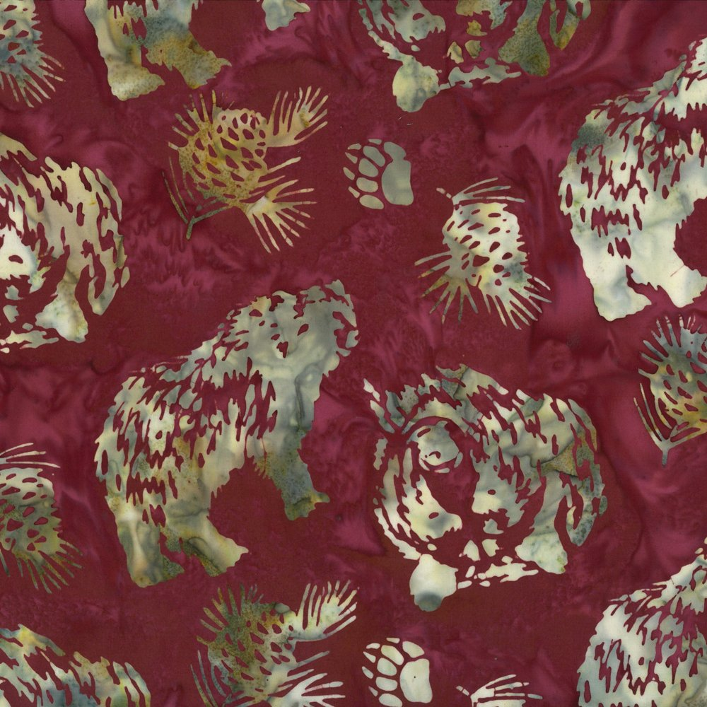 Bear and Pinecones Ruby Batik
