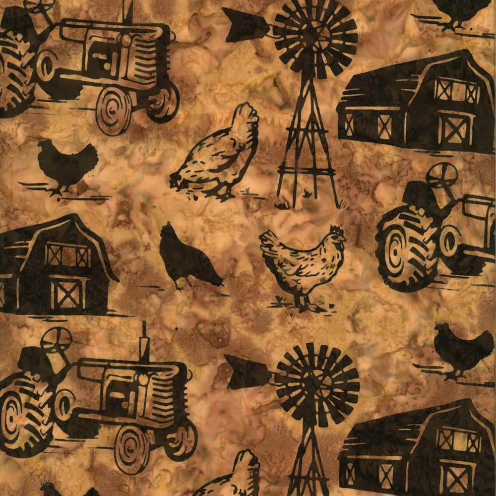 Chickens on Farm Chop Saddle Batik