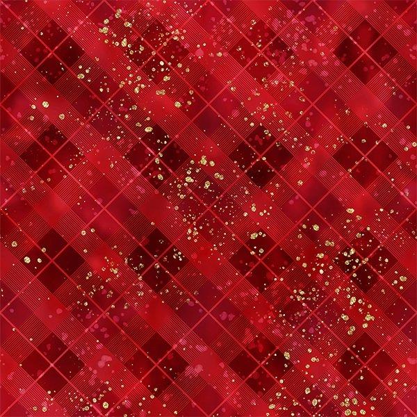 Gingerbread Lane - Red Metallic Plaid