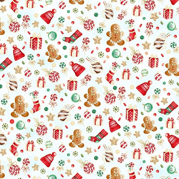 Gingerbread Lane -  Tossed Holiday Print