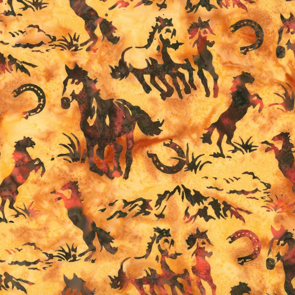 Horses and Horseshoes Coral Batik