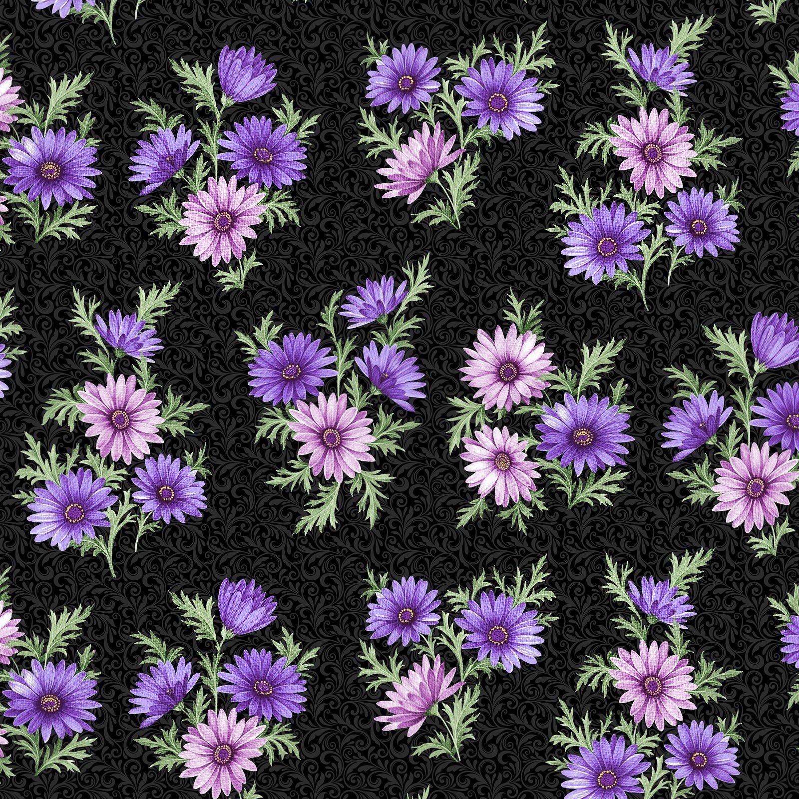Miss Marguerite Black Bouquet - Pearlescent Floral