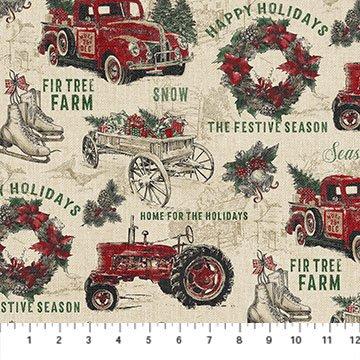 Vintage Christmas Overall Print