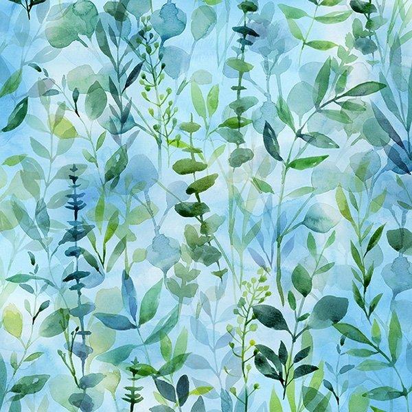 When in Wisteria Blue Leaf Print