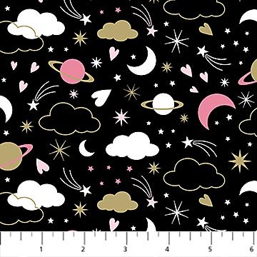 Believe in Magic - Black w/stars, planets, stars etc