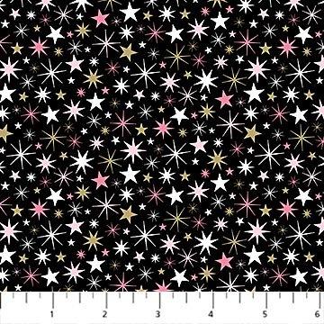 Believe in Magic - black w/pink & white stars