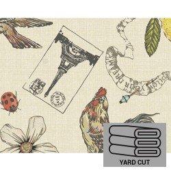 Laminated Cotton - Ivory w/Eiffel Tower & Birds