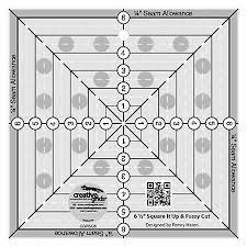 Creative Grids 6-1/2in Square It Up or Fussy Cut Square Quilt Ruler - CGRSQ6