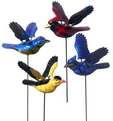 Songbird Plant Stakes - Assort'd - Blues, Red, Yellow