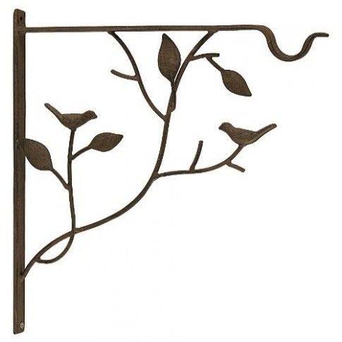 Bracket for Hanging Plant - Birds on tree limb - Brown - 13