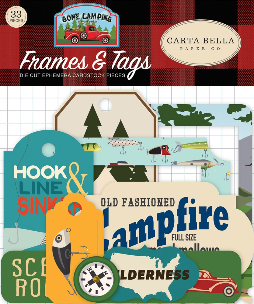 Gone Camping Carta Bella Cardstock Ephemera 33/Pkg-Frames & Tags