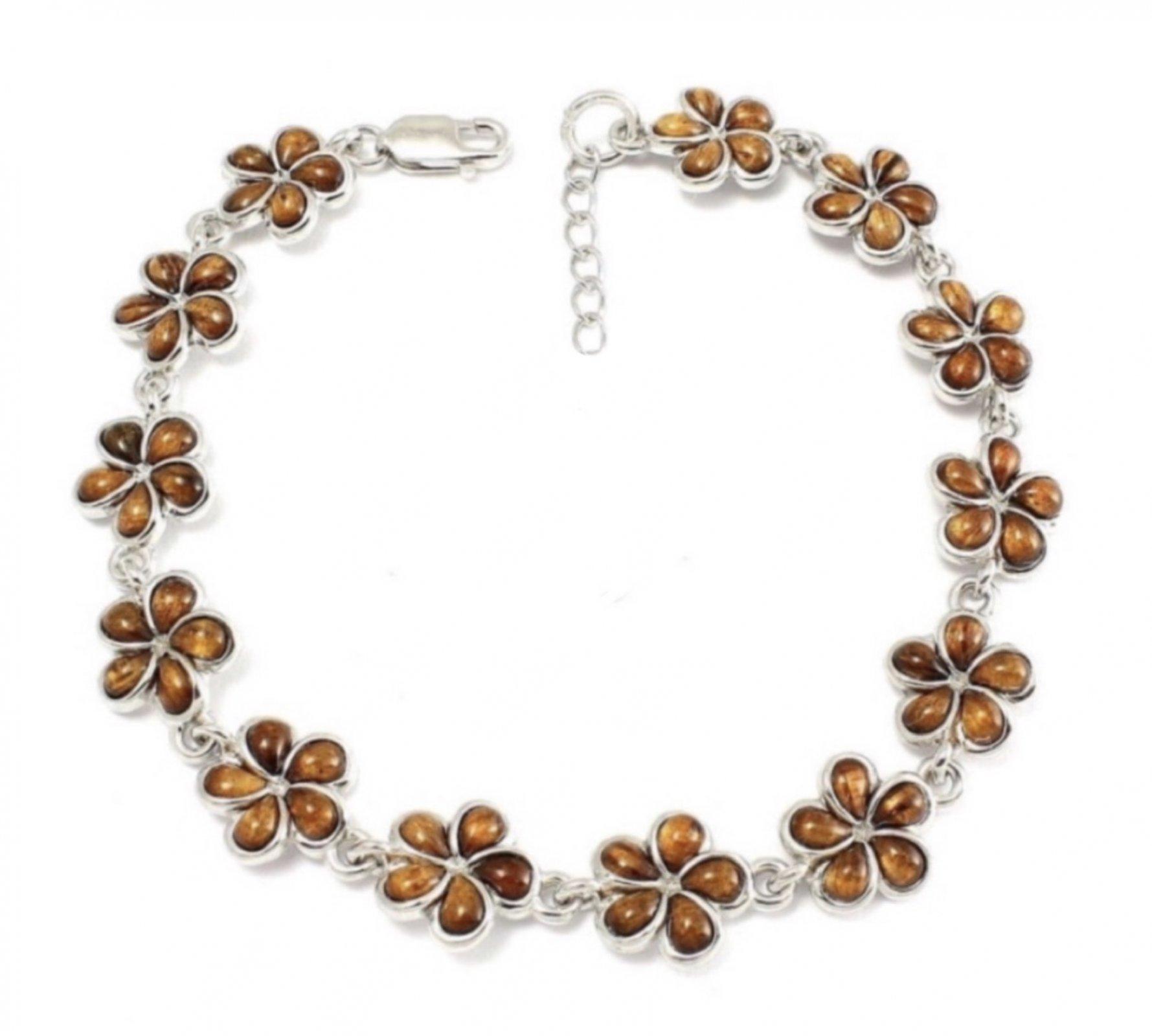 Koa Wood Plumeria Flower Bracelet