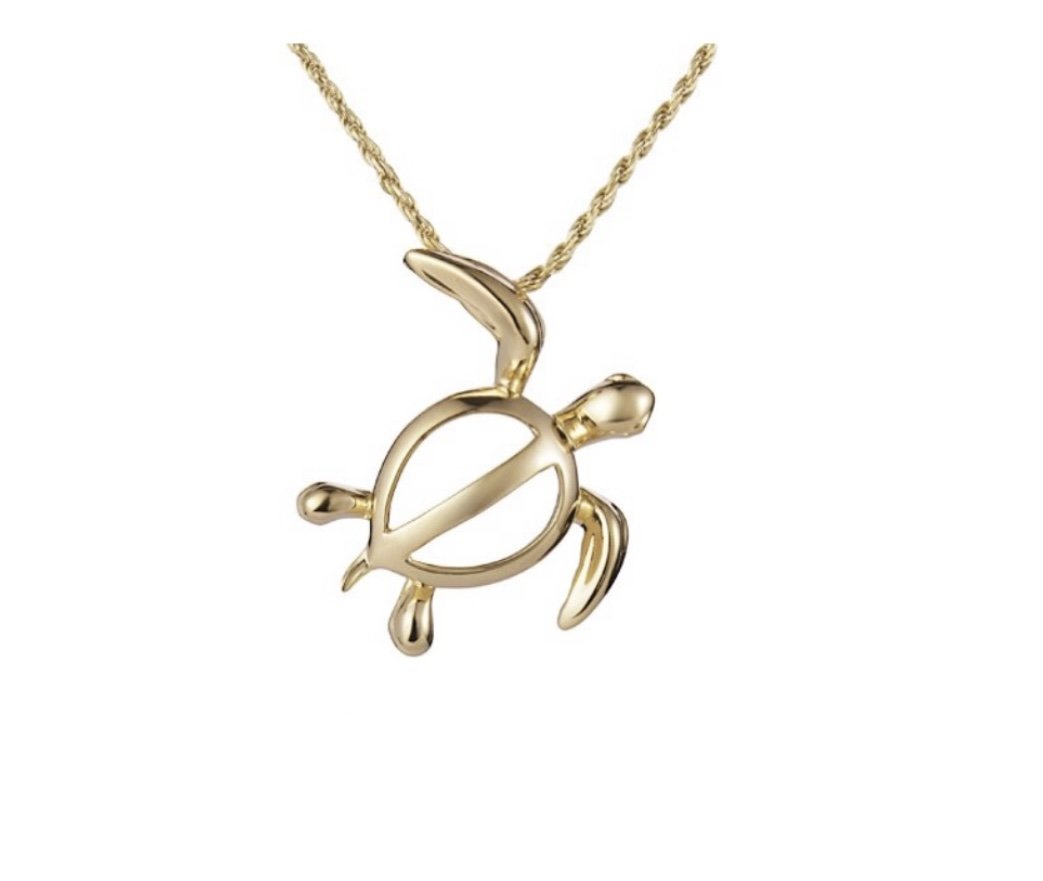 Gold Pend > Turtle Necklace (14kt Gold) </p> **Chain included**