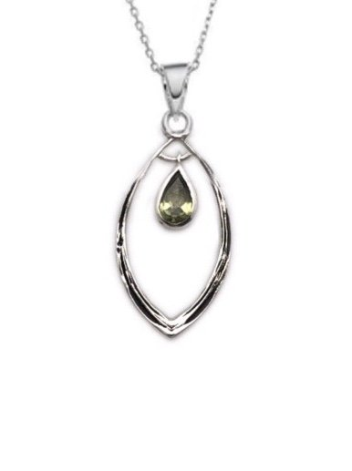 Peridot Dangling in Drop Necklace (with Chain)