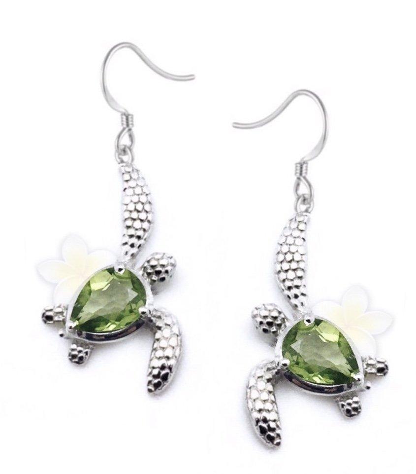 Ear > Peridot Turtle Dangle Earring