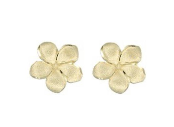 Gold Ear > Plumeria Flower Post Earrings (12mm)