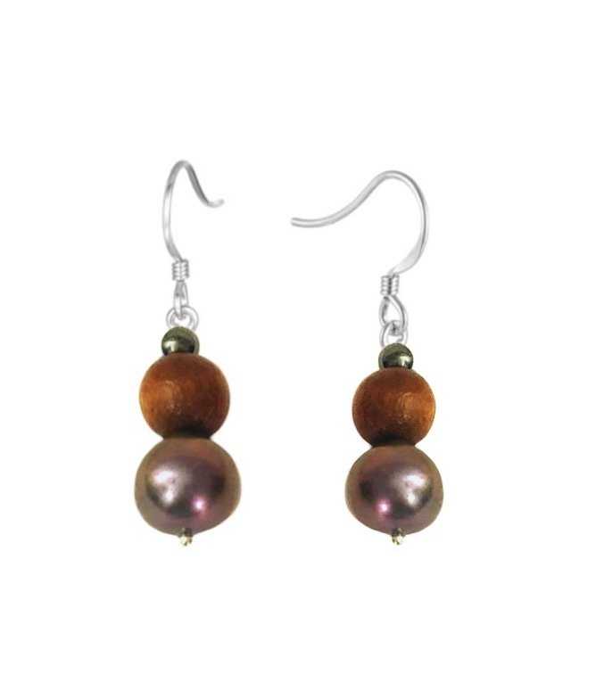 Pearl Black with Koa Wood Dangle Earring
