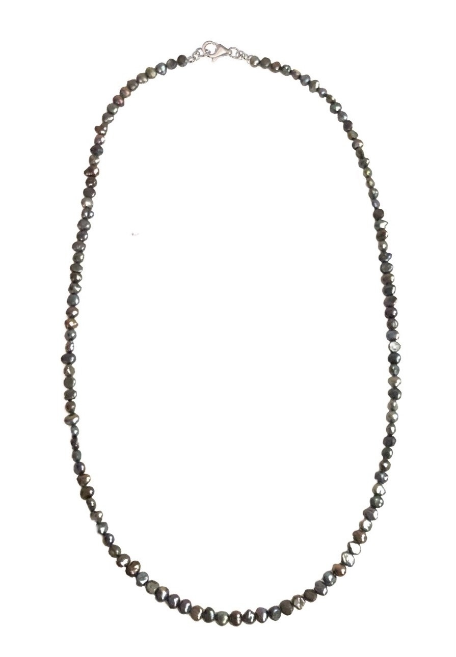 Pearl Black Necklace - odd shape pearls