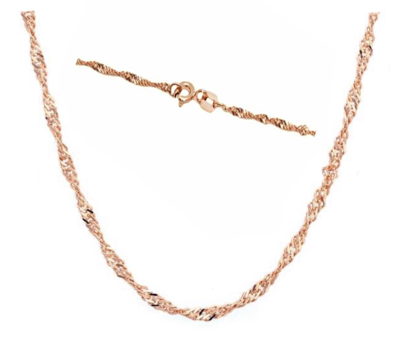 """GOLD Chain (Singapore Chain - 18"""") - Rose Gold"""