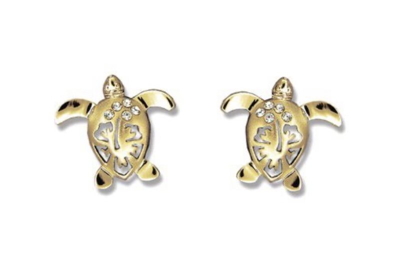 Gold ear > Turtle with Hibiscus Flower Post Earrings