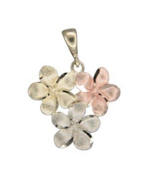 Gold Pend > Plumeria Bouquet Heart Shape Pendant - Tri-Color