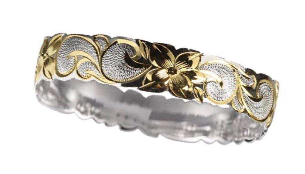 Hawaiian Bangle Bracelet   </p> Plumeria Flower Queen Scroll  <p>(Widths Available: 6mm - 18mm)