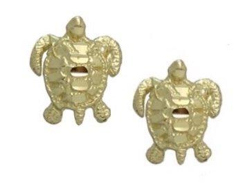 Gold Ear > Turtle diamond cut Post Earring