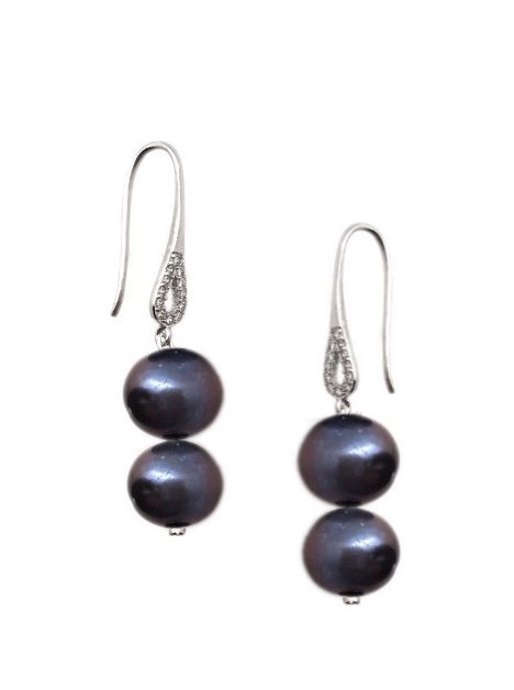 Ear > Pearl CZ Dangle Earring - Black