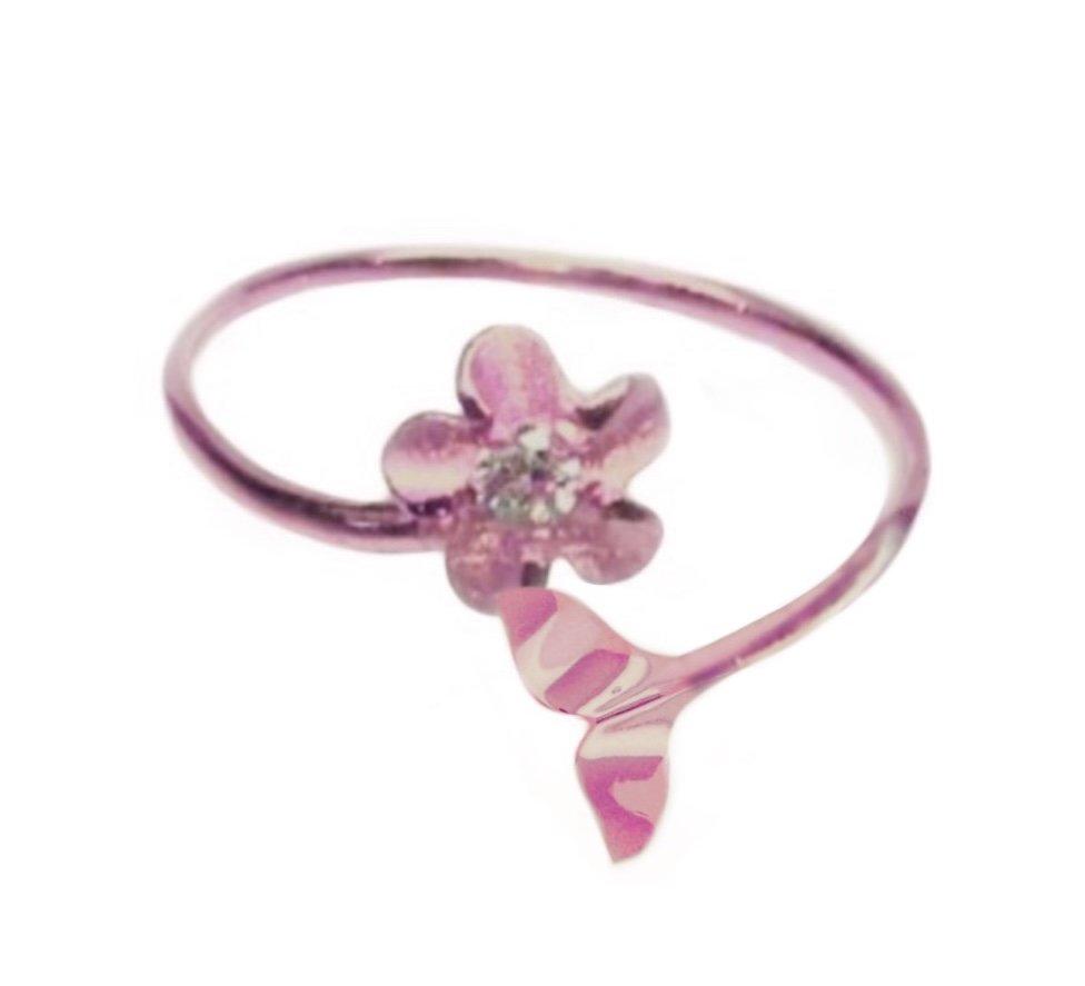 Ring > Plumeria Flower & Whale Tail Ring / Toe Ring - Rose