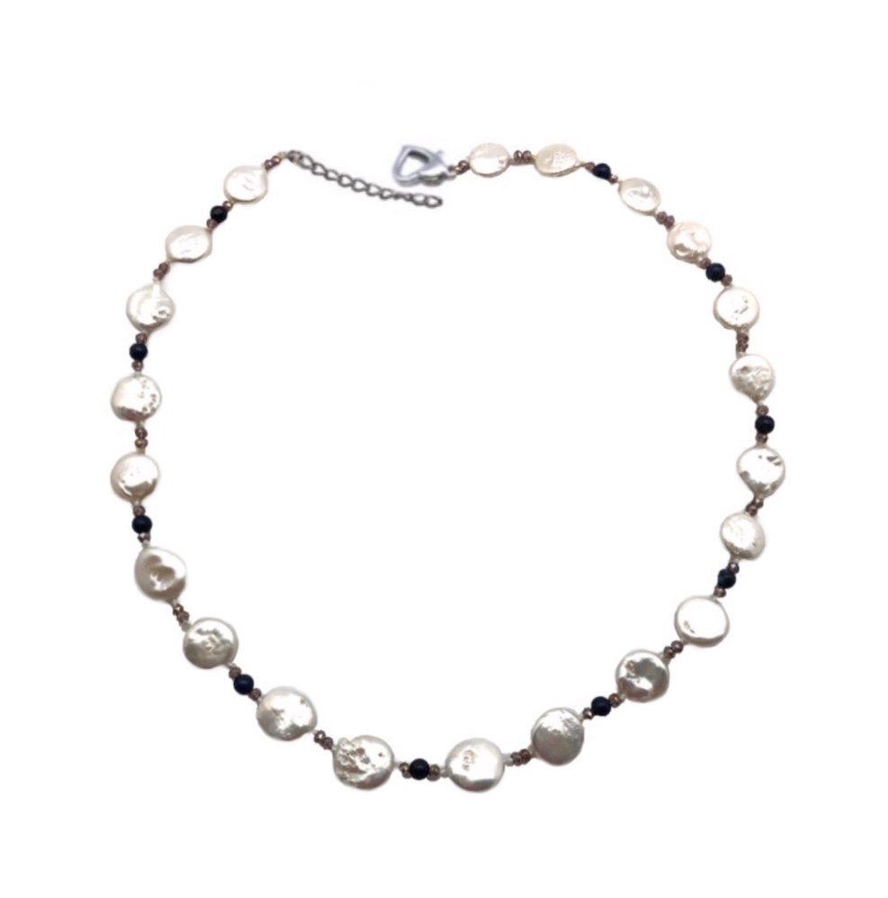 Pearl Coin with Crystals Necklace - White (18 length)