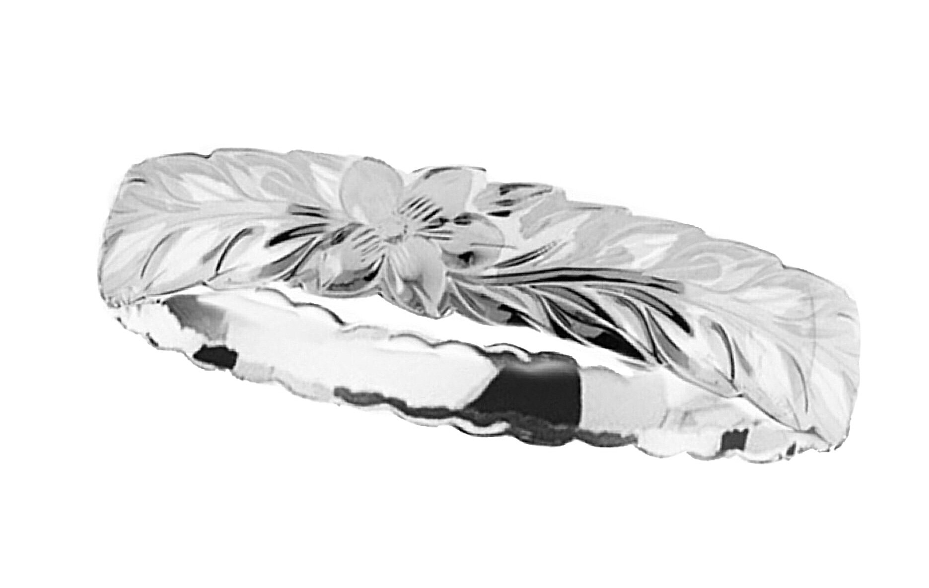 Hawaiian Bangle Bracelet   </p> Maile Leaf with Plumeria Flower   <p>(Widths Available: 6mm - 18mm)