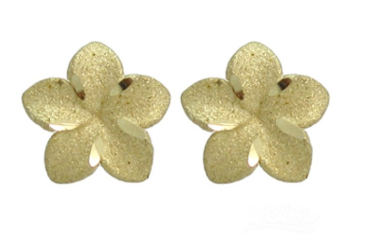 Gold Ear > Plumeria Post Earring (9mm)