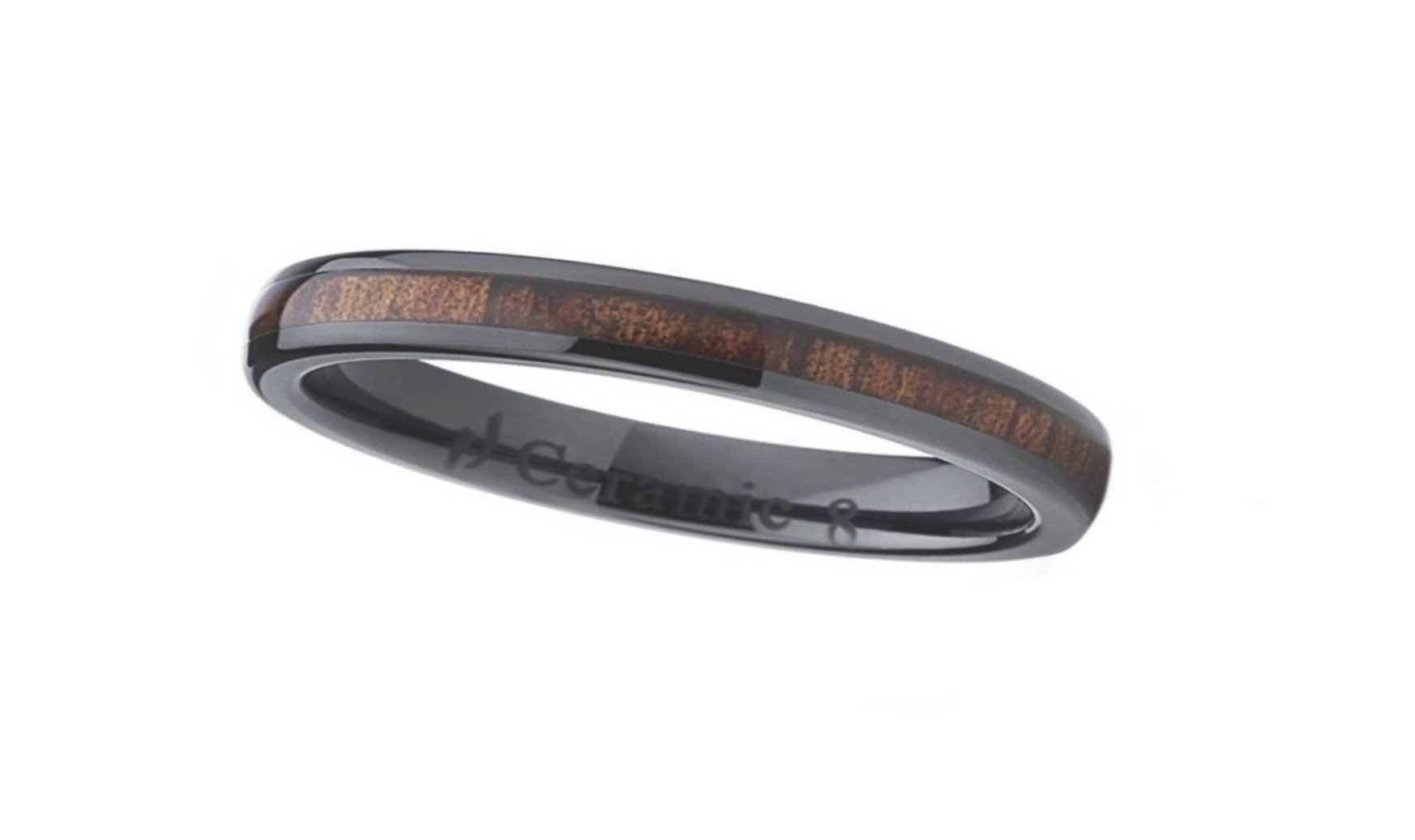 Koa Wood Black Ceramic Ring (4mm)