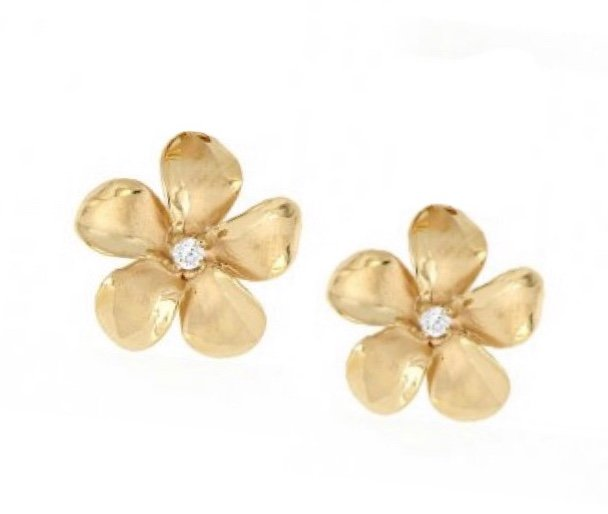 Gold Ear > Plumeria Post Earring (8mm - Yellow Gold)