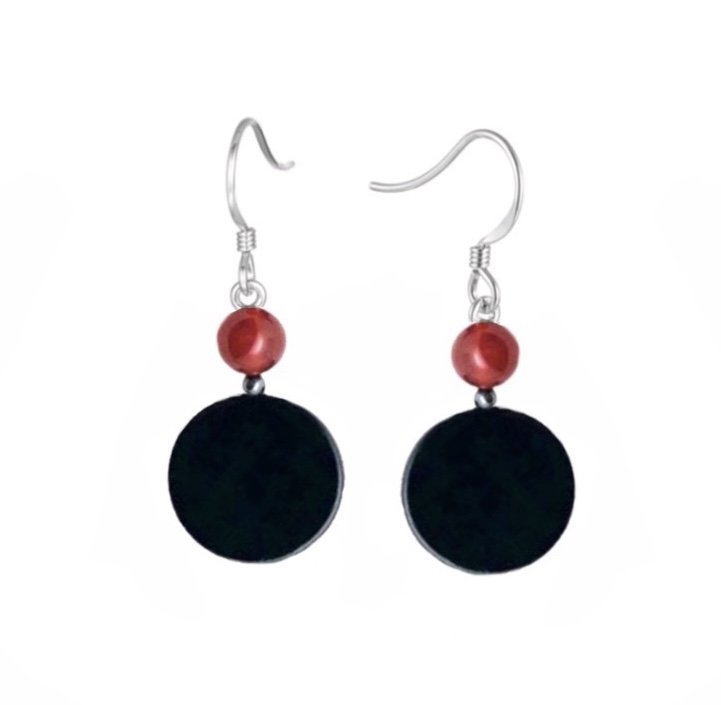 Obsidian, Hematite Stone & Carnelian Stone Dangle Earring