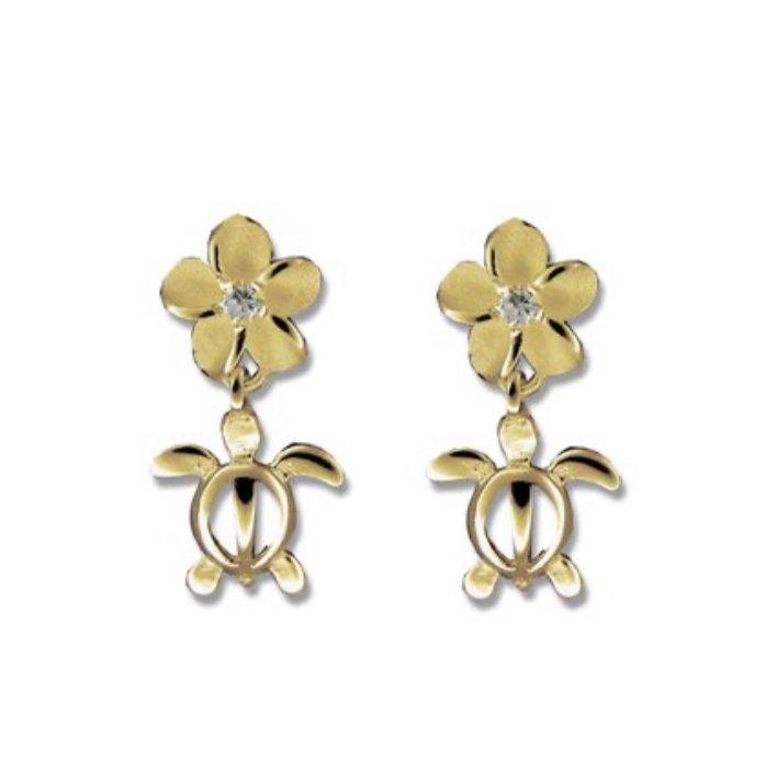 Gold Ear > Turtle w/Plumeria top Dangle Earring