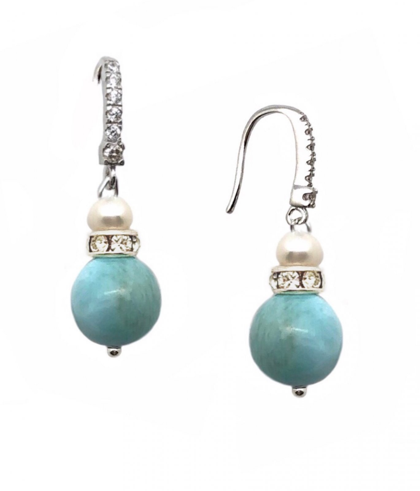 Ear > Larimar with Pearl & Crystals dangle earrings