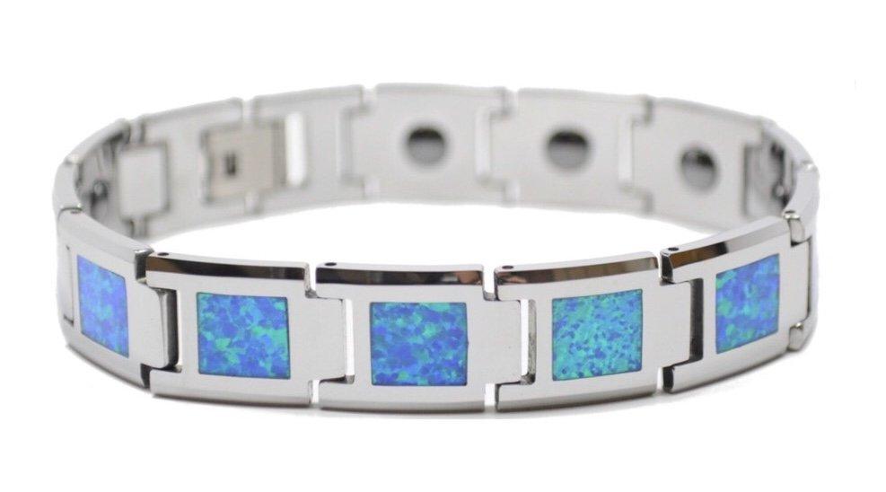 Opal Link Tungsten Bracelet (14mm Wide)