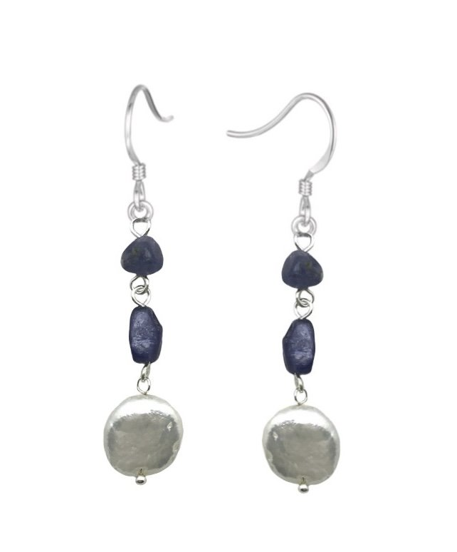 Ear > Pearl Coin White with Kyanite Dangle Earring