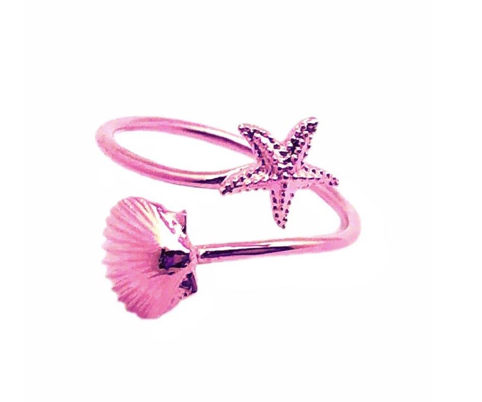 Ring > Sea Shell & Starfish Ring / Toe Ring - Rose
