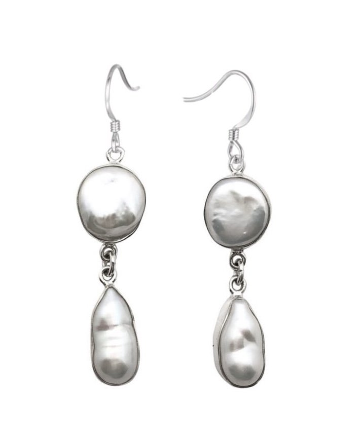 Ear > Pearl Coin & Baroque Dangle Earring