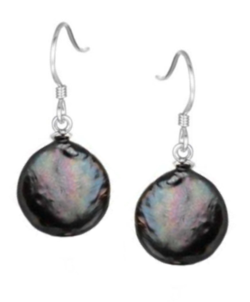 Ear > Pearl Coin Black Dangle Earring