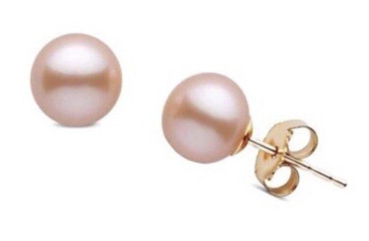 Ear > Pearl Post PEACH Earring (8-9mm) 14Kt Gold