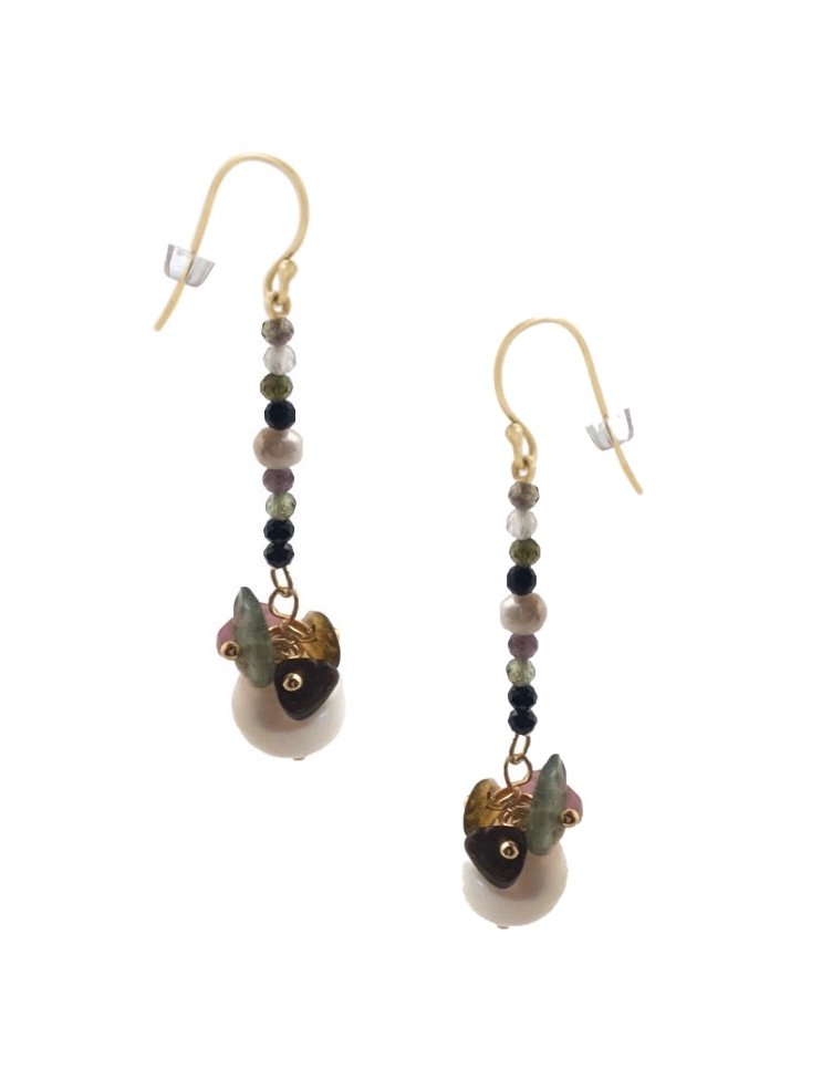 Ear > Pearl with Tourmaline Dangle Earring